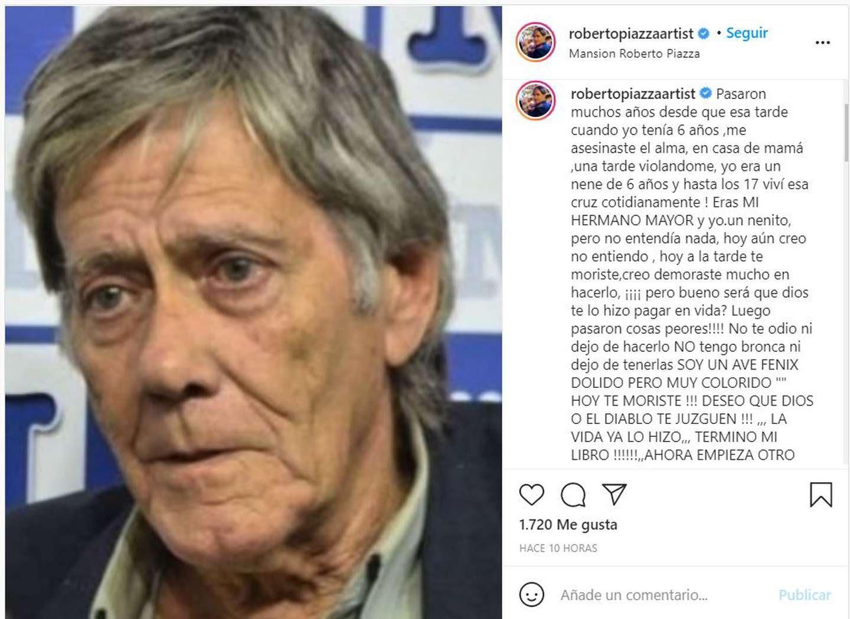 El posteo de Roberto Piazza tras la muerte de su hermano.